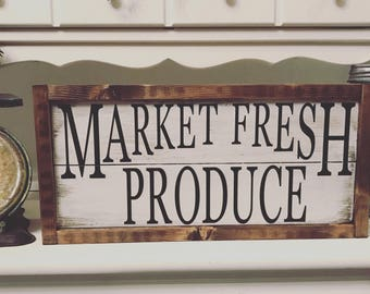 Market Fresh Produce Sign - Market Sign - Market Fresh Sign - Farmers Market Sign - Farmhouse Sign - Farmhouse Decor - Kitchen Sign