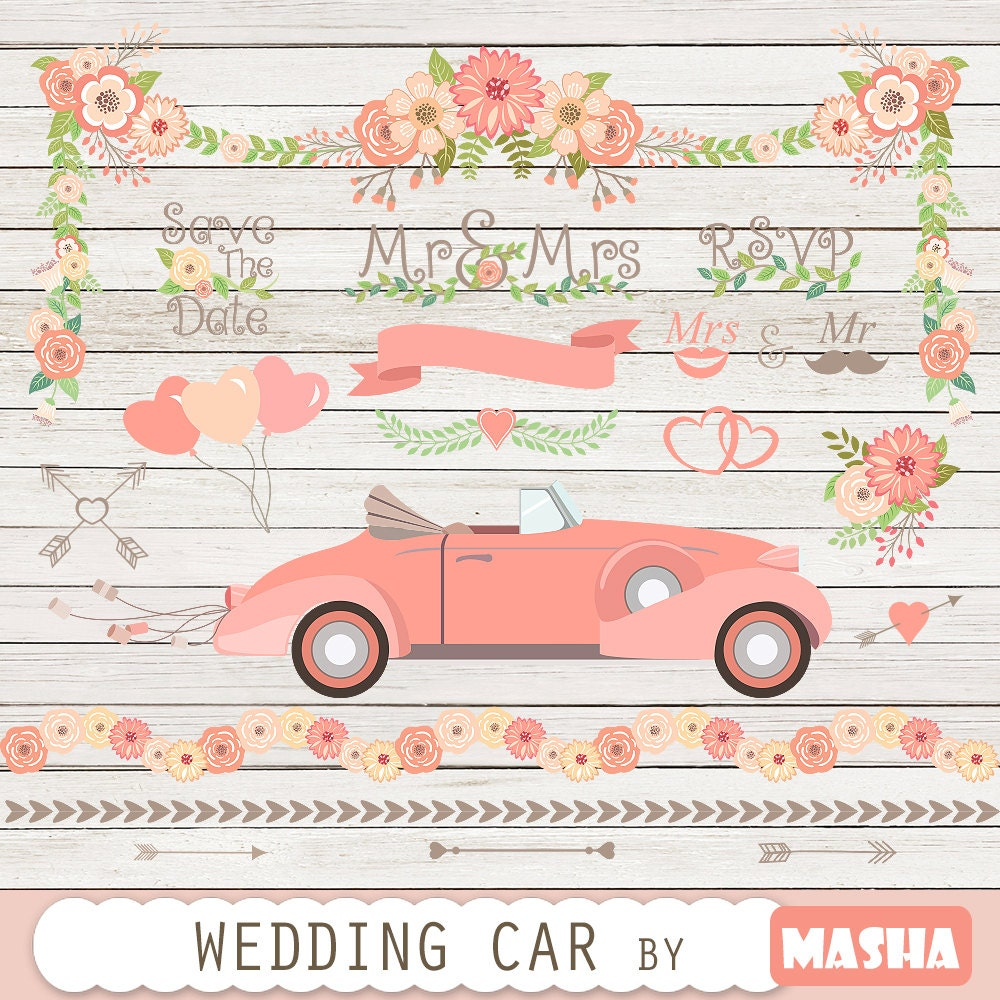 Wedding clipart: WEDDING CAR CLIPART with car