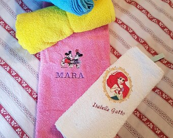 """Hand Towels """"love and embroider"""" embroidered and customizable for kindergarten-hand towels """"love and embroider"""" embroidered and customizable for asylum"""