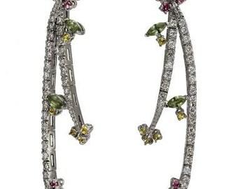 Dangling Earrings Diamond Earrings Long Earrings With Diamonds And Sapphires 14k