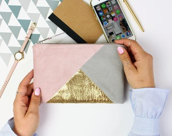 Pink Grey Suede Bag // Clutch Purse, Small Suede Clutch, Zipper Pouch, Suede Travel Pouch, Soft Suede Bag, Suede Clutch Bag, Big Leather Bag