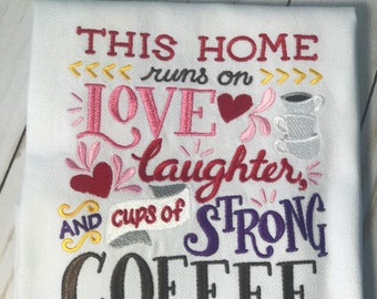Embroidered Dish Towel,Coffee,gift,kitchen,house warming,cotton,machine embroidery,