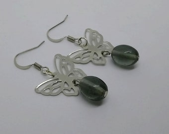 Earrings silver black olive glass beads and Butterfly prints