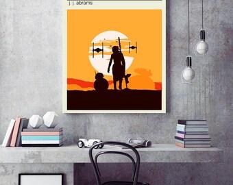 Force awakens poster, Star wars 7 minimalist poster, Star wars travel poster, bb8 rey poster, Force awakens print, star wars minimalist
