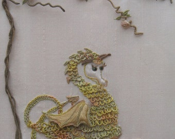 Hand Embroidered Dragon and Roses Hand Embroidery Wall Art PDF Instructions & Pattern Dragon design