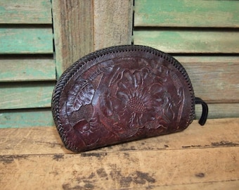 Leather tooled  taco clutch Wallet Pouch with Zipper As-found