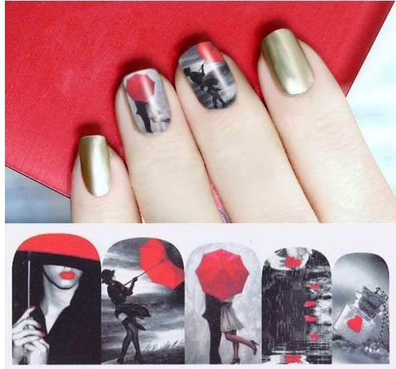 Red Umbrella Nail Wraps Nail Decals Tattoo Water Transfer Nail Art ...