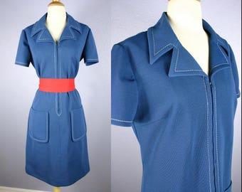 Vintage 60s Shift Dress MOD Dress 1960s Knit Dress Mid Century Dress Midi Skirt Secretary Dress GoGo Dress Twiggy RETRO Blue Dress Pockets