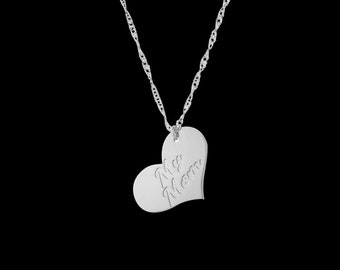 Heart Name Necklace - Custom Heart Necklace - Personalized Heart Necklace - Heart Engraved Necklace - Personalized Name Necklace - Bff Gift