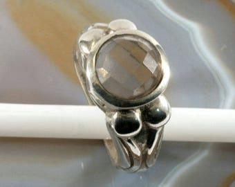 925 sterling silver and smoke topaz, ring  --  6270