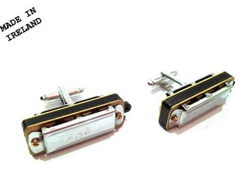 Silver Harmonica Cufflinks that actually play by Oh Boy