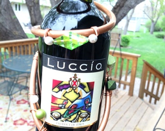 Wine Bottle Necklace, Lime Green Beads, Celebration, Gift, Host or Hostess, Bride & Groom