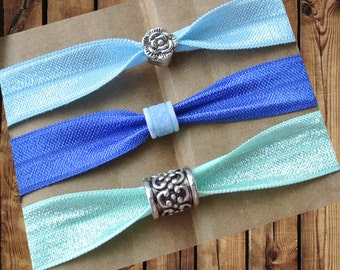 Beaded Hair Ties/Elastics No Crease Light Blue, Blue, Mint Shimmer