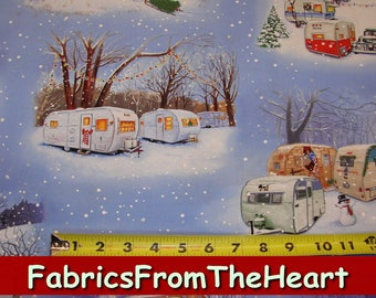 Winter Snowmen Vintage Teardrop Travel Trailers Camping Blue Elizabeth's Studio Cotton Fabric