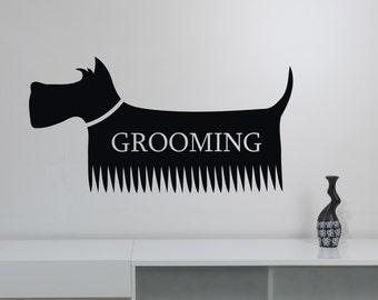 Pet Grooming Wall Sticker Vinyl Decal Window Logo Animal Decorations Pet Dog Puppy Shop Salon Decor petg4