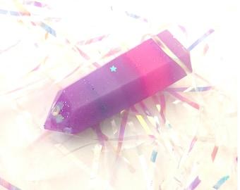 Pretty Pink and Purple Irridescent Glitter Resin Crystal Unicorn Decor