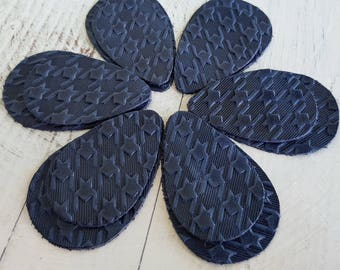 12pcs  Leather Teardrops,  Navy Blue  Embossed Genuine Leather