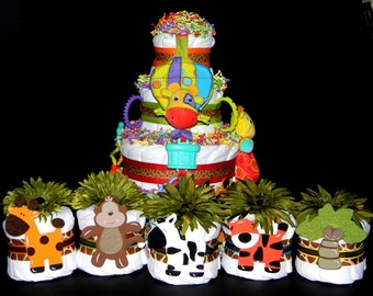 5 PC Mini-Jungle / Safari Centerpiece Set - Baby Shower Decorations - Diaper Cake Is Sold Separately!