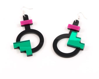Geometric Perspex Statement Earrings - Pink, Green FORM_003