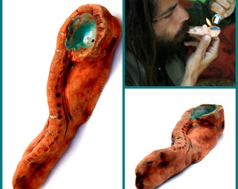 Healing snake pipe, Ceramic  pipe, Tobacco haeling snake, Serpent Smoking pipe