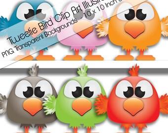 10 Clip Art Cute Tweetie Bird Illustrations. PNG Transparent. 10 x 10 Inch. 300 Dpi