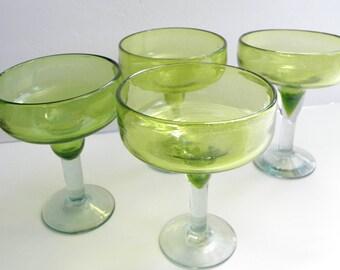 s/4 Green Bubble Hand Blown Margarita Glasses