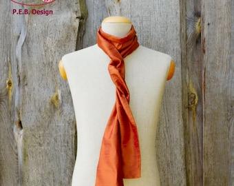 Silk scarf, silk shawl, scarf, silk, silk, raw, apricot, orange