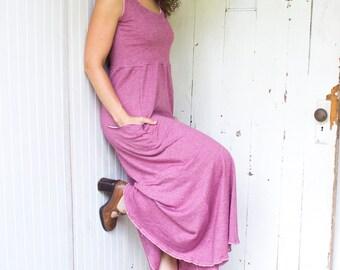 Sedona Passport Pocket Maxi Dress - Hemp and Organic Cotton Blend - Made to Order - Many Colors Available - Eco Fashion - Boho Chic