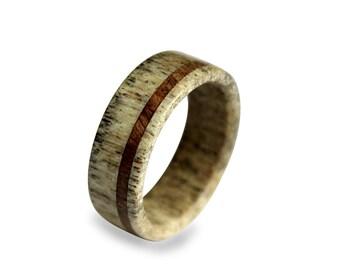 Handmade Deer Antler Ring, Antler Ring, Wooden Ring, Antler Ring Inlaid With Oak Wood