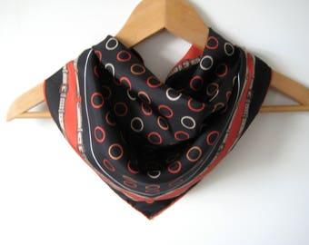 Vintage Scarf Circles Buckles Black Silk Vintage Scarf