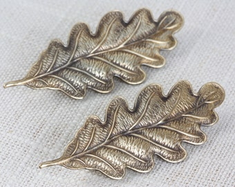 Oak Leaf French Barrettes (Brass)