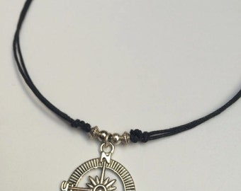 Black cord necklace etsy compass necklace adjustable black cord necklace choker necklace compass choker nautical necklace mozeypictures Choice Image