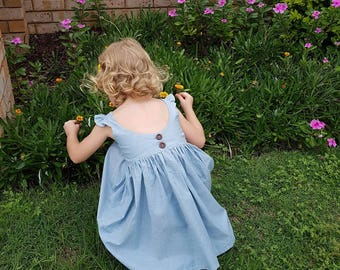 Girls chambray dress, girls denim dress, soft chambray, light blue dress girls, scooped back dress