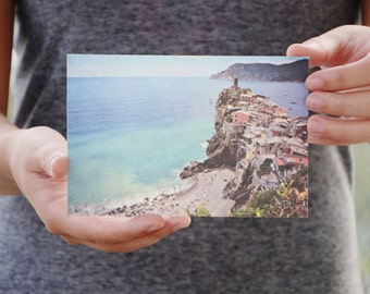 Cinque Terre Travel Postcard, Printed on Handmade Eco Friendly Mulberry Paper, Italy Travel Photography, Mediterranean Europe Photography