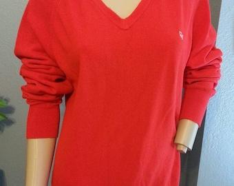 Vtg Men's Women's Christian Dior Monsieur Embroidered Red Acrylic Boyfriend Sweater XL