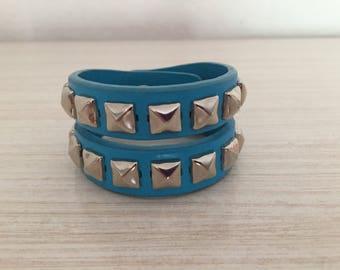 Vintage 90's Blue Leather Studded Cuff Bracelet
