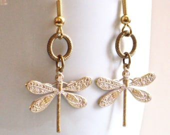 White Dragonfly Earrings - Dragonfly Jewelry, Nature Jewelry, Garden Jewelry, Gold