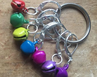 Jingle Bells! Rainbow Bell Stitch Markers, Progress Markers, Knitting Markers, Crochet Markers - Set of 7