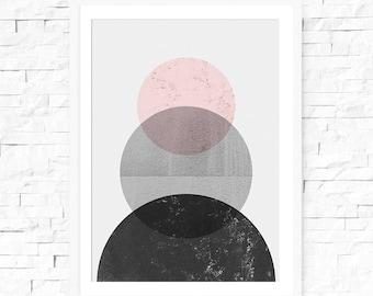 Abstract Circle print, Nordic Print, Grey and Pink, Circle Poster, Nordic Wall Art, Circle Art, Abstract Circles, Poster Print Modern