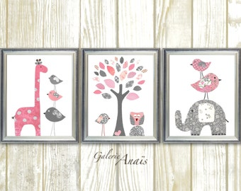 Nursery Decor girl Pink and Gray Girl's room decor -  Baby nursery kids wall art - Girl bedroom Set of three prints