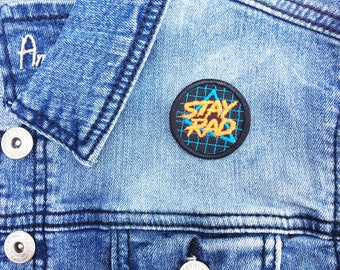 80s Stay Rad Iron-on Embroidered patch