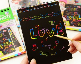 Black scratch card Rainbow Card magic black craft card Scratch note Paper Crafts card Scratch Paper black card kids picture drawing book