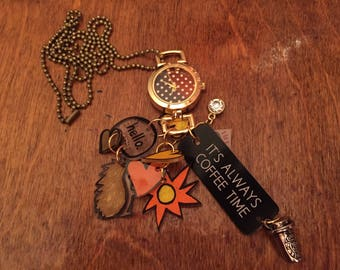 Coffee shrink art and charm necklace