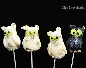 Brooch Owl Lampwork Pin Glass Owl lampwork bead Figurine Owl Lampwork Glass Bead Ivory  Owl Jewelry gift for her Artisan glass bead