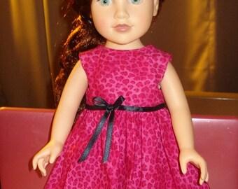 Sleeveless pink Leopard print full dress for 18 inch Dolls - ag75