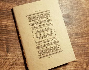 1 A6 Brown Pattern Notebooks (40 Blank Pages) - Great gift, sketchbook, journal or diary.