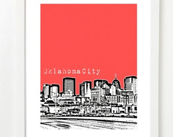 Oklahoma City Skyline Poster - Oklahoma City Art - Oklahoma Art - VERSION 1