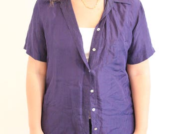 1980s silk oversize purple blouse tunic button up large