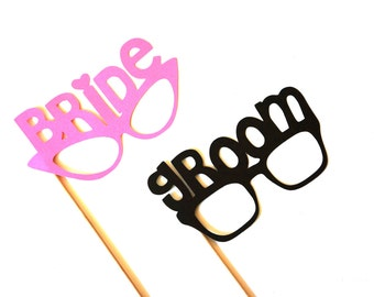 Photo Booth Props - Bride and Groom Glasses - Set of 2 - Weddings - Photobooth Props - Pink and Black