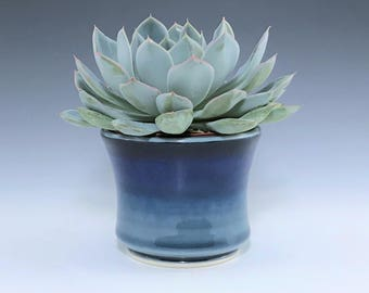 "Blue Succulent Planter, Small Ceramic Planter, Porcelain Plant Holder, Blue Indoor Planter, Pottery Planter With 3"" Removable Plastic Pot"